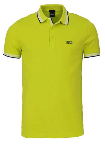 BOSS Halbarm Poloshirt PADDY Polokragen geknöpft Pique limone - Hemden Meister