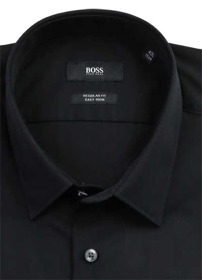 BOSS Regular Fit Hemd ELIOTT extra langer Arm geknöpft schwarz