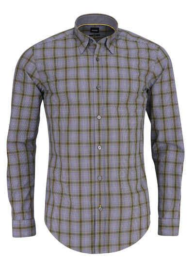 BOSS BUSINESS Slim Fit Hemd ROG_53 Langarm Karo gelb - Hemden Meister