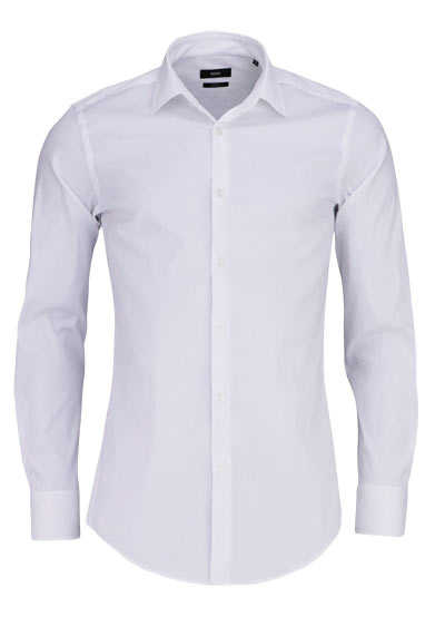 BOSS BUSINESS Slim Fit Hemd JENNO Langarm Stretch weiß - Hemden Meister