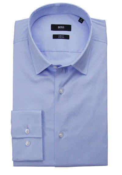 BOSS Slim Fit Hemd JENNO Langarm Stretch hellblau