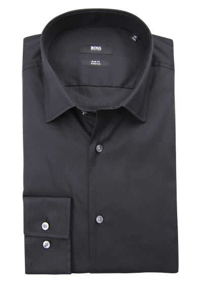 BOSS BUSINESS Slim Fit Hemd JENNO extra langer Arm Stretch schwarz preisreduziert
