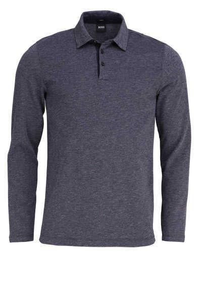 BOSS Langarm Poloshirt PLEINS 06 geknöpfter Kragen dunkelblau - Hemden Meister