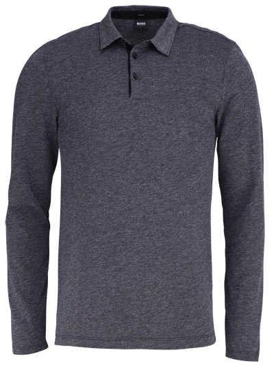 BOSS BUSINESS Langarm Poloshirt PLEINS 06 geknöpfter Kragen schwarz - Hemden Meister