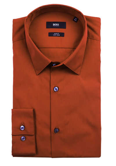 BOSS Slim Fit Hemd ISKO Langarm geknöpft Baumwolle orange