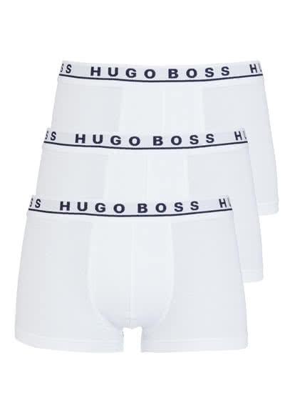 BOSS Boxershorts breiter Gummibund 3er Pack weiß - Hemden Meister