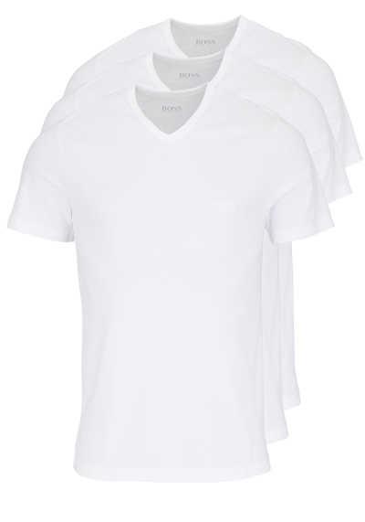 BOSS Regular Fit Kurzarm T-Shirt V-Ausschnitt 3er Pack weiß - Hemden Meister