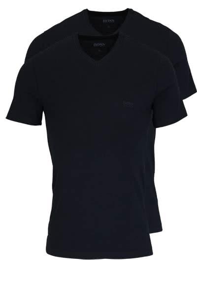 BOSS Halbarm T-Shirt V-Ausschnitt Pure Cotton Doppelpack schwarz - Hemden Meister