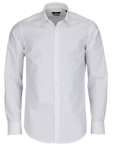 BOSS BUSINESS Regular Fit Hemd Langarm ENZO Popeline weiß - Hemden Meister