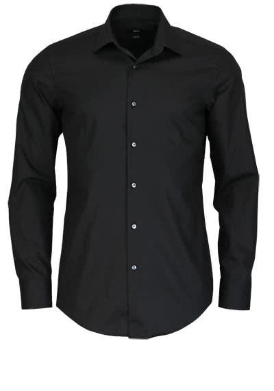 BOSS BUSINESS Slim Fit Hemd Langarm JENNO Popeline schwarz - Hemden Meister