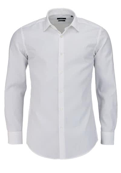 BOSS BUSINESS Slim Fit Hemd Langarm JENNO Popeline weiß - Hemden Meister