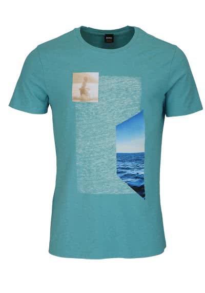 BOSS Kurzarm T-Shirt TRIEN Rundhals Statement-Print türkis - Hemden Meister