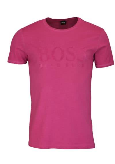 BOSS Kurzarm T-Shirt TOMLOUIS Rundhals Schrift-Print altrosa - Hemden Meister