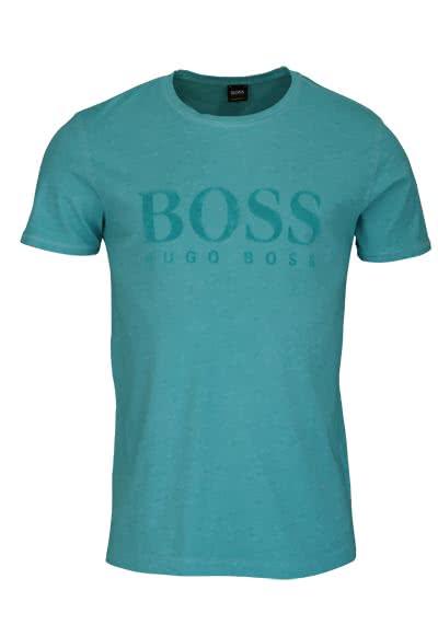 BOSS Kurzarm T-Shirt TOMLOUIS Rundhals Schrift-Print türkis - Hemden Meister