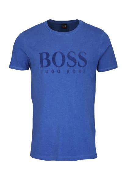 BOSS Kurzarm T-Shirt TOMLOUIS Rundhals Schrift-Print mittelblau - Hemden Meister
