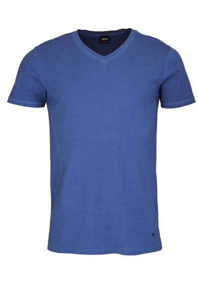 BOSS Kurzarm T-Shirt TRACE V-Ausschnitt mittelblau - Hemden Meister
