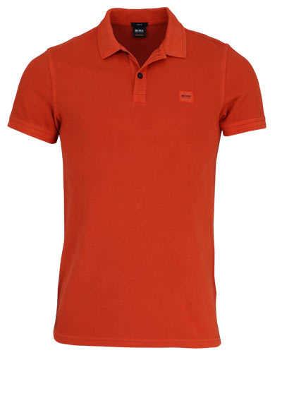 BOSS Poloshirt PRIME Halbarm geknöpften Kragen Pique orange - Hemden Meister