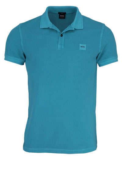 BOSS Poloshirt PRIME Halbarm geknöpften Kragen Pique türkis - Hemden Meister