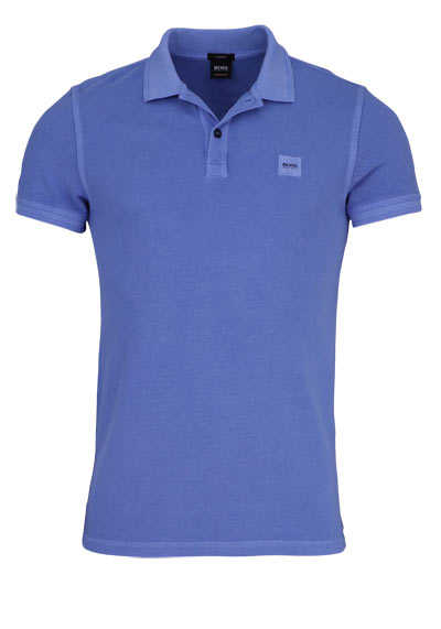 BOSS Poloshirt PRIME Halbarm geknöpften Kragen Pique mittelblau - Hemden Meister