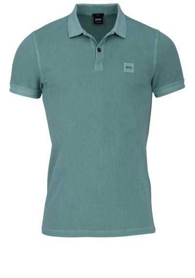BOSS Poloshirt PRIME Halbarm geknöpften Kragen Pique mittelgrün - Hemden Meister
