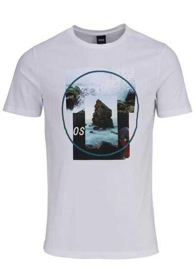 BOSS Halbarm T-Shirt TLAX4 Rundhals Statement-Print weiß - Hemden Meister