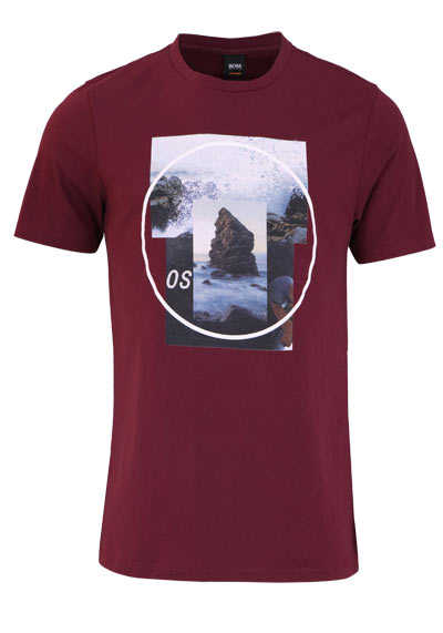 BOSS Halbarm T-Shirt TLAX4 Rundhals Statement-Print weinrot - Hemden Meister