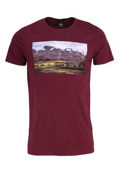 BOSS Halbarm T-Shirt TEEDOG1 Rundhals Statement-Print weinrot - Hemden Meister