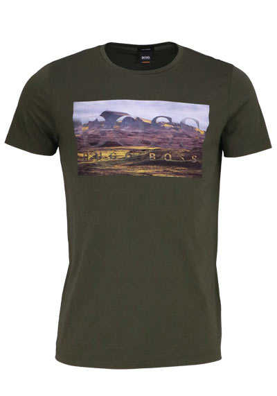 BOSS Halbarm T-Shirt TEEDOG1 Rundhals Statement-Print oliv - Hemden Meister