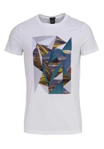 BOSS Halbarm T-Shirt TEEDOG3 Rundhals Statement-Print weiß - Hemden Meister