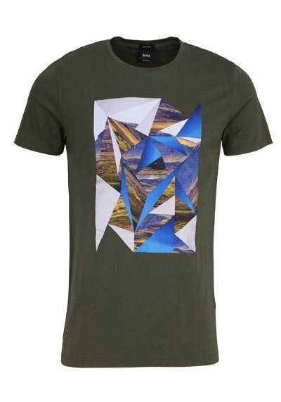 BOSS Halbarm T-Shirt TEEDOG3 Rundhals Statement-Print oliv - Hemden Meister