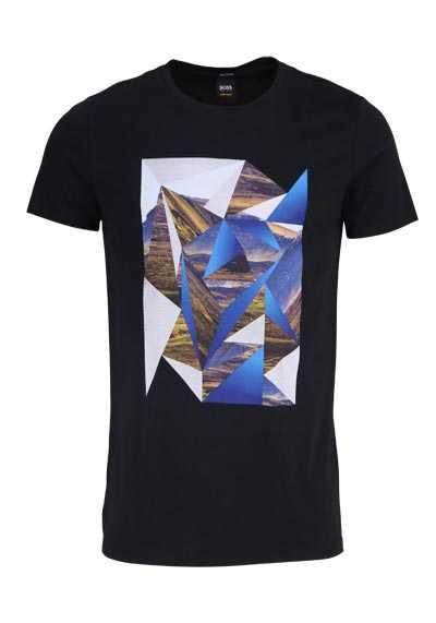 BOSS Halbarm T-Shirt TEEDOG3 Rundhals Statement-Print schwarz - Hemden Meister