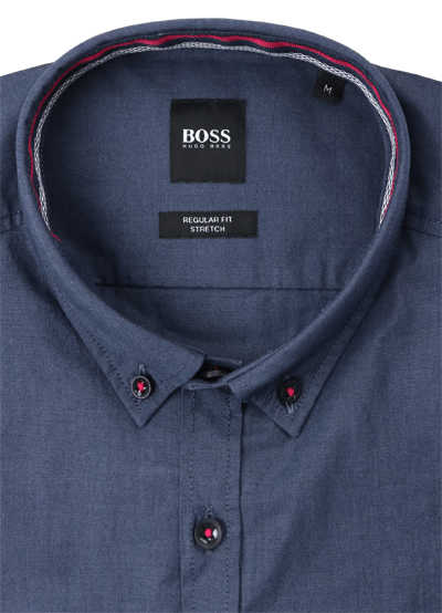 BOSS Regular Fit Hemd BIADO_R Langarm Button Down Kragen Stretch dunkelblau