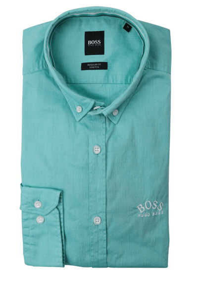BOSS Regular Fit Hemd BIADO_R Langarm Button Down Kragen Stretch mint preisreduziert