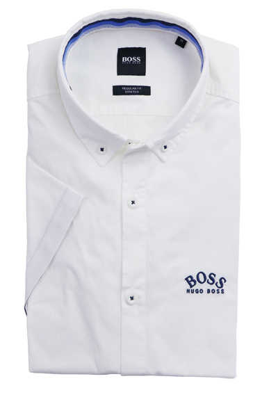 BOSS Regular Fit Hemd Halbarm Button Down Kragen Stretch weiß