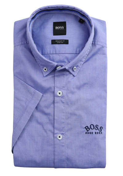 BOSS Regular Fit Hemd Halbarm Button Down Kragen Stretch blau