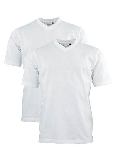 HAJO T-Shirt Doppelpack V-Ausschnitt Uni weiß 22000/4/200 - Hemden Meister