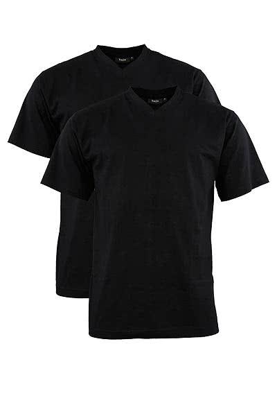 HAJO T-Shirt Doppelpack V-Ausschnitt Uni schwarz 22000/4/100 - Hemden Meister