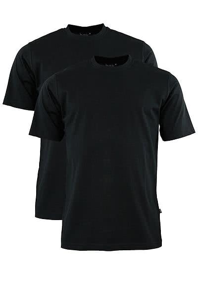 HAJO T-Shirt Doppelpack Uni schwarz 22001/4/100 - Hemden Meister