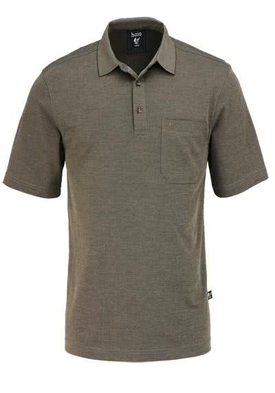 HAJO Poloshirt Halbarm geknöpft mit Brusttasche braun - Hemden Meister