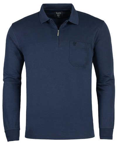 HAJO Softshirt Polo Langarm Polokragen Zipper dunkelblau - Hemden Meister