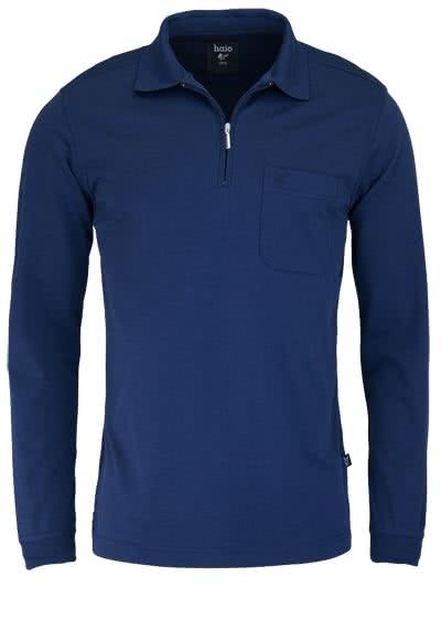 HAJO Softshirt Polo Langarm Polokragen Zipper nachtblau - Hemden Meister