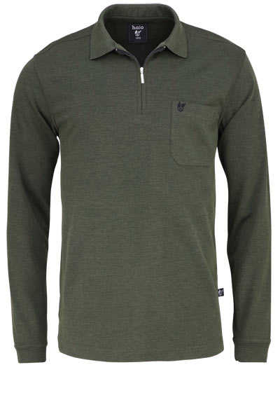 HAJO Softshirt Polo Langarm Polokragen Zipper oliv - Hemden Meister