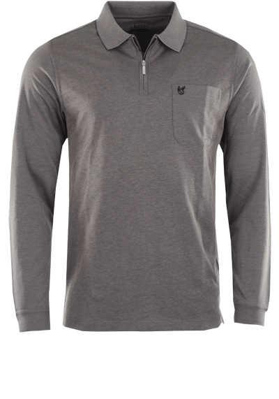 HAJO Softshirt Polo Langarm Polokragen Zipper mittelgrau - Hemden Meister