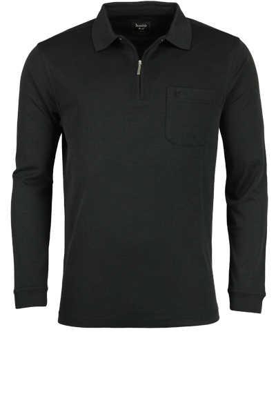 HAJO Softshirt Polo Langarm Polokragen Zipper schwarz - Hemden Meister
