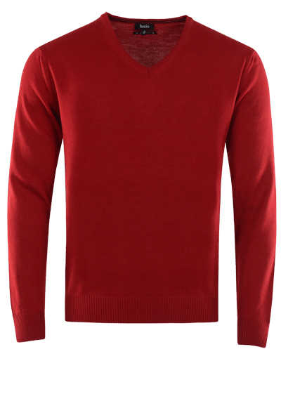 HAJO Pullover V-Ausschnitt Smart Relaxx Langarm mittelrot - Hemden Meister
