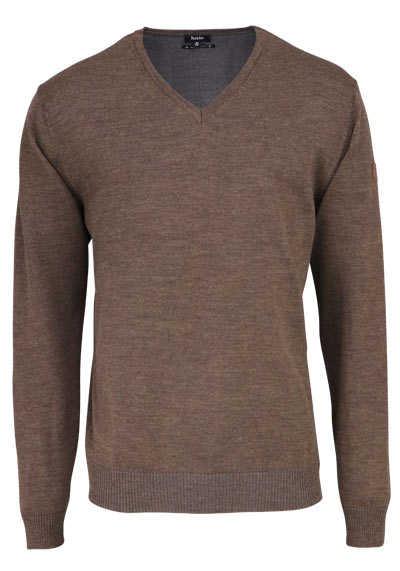 HAJO Pullover V-Ausschnitt Smart Relaxx Langarm dunkelbraun - Hemden Meister