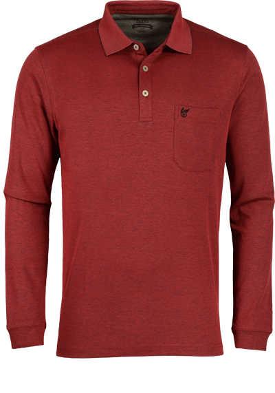 HAJO Softshirt Polo geknöpft Langarm Brusttasche mittelrot - Hemden Meister