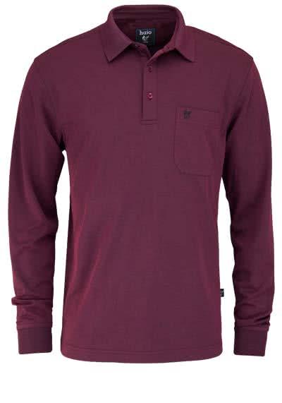 HAJO Softshirt Polo geknöpft Langarm Brusttasche beere - Hemden Meister