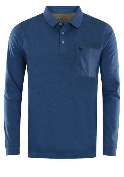HAJO Softshirt Polo geknöpft Langarm Brusttasche dunkelblau - Hemden Meister
