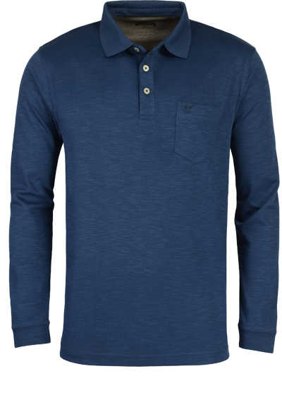 HAJO Softshirt Polo geknöpft Langarm Brusttasche nachtblau - Hemden Meister
